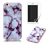 for iPhone 4/iPhone 4S Marble Case with Screen Protector,OYIME Creative Glossy Purple & White Marble Pattern Design Protective Bumper Soft Silicone Slim Thin Rubber Luxury Shockproof Cover