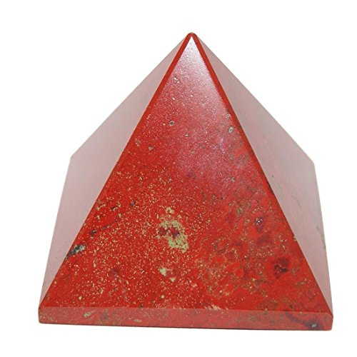 Pyramid Red Glass (Divya Mantra Metaphysical Crystal Chakra Pyramid In Red Jasper Others Multicolour)
