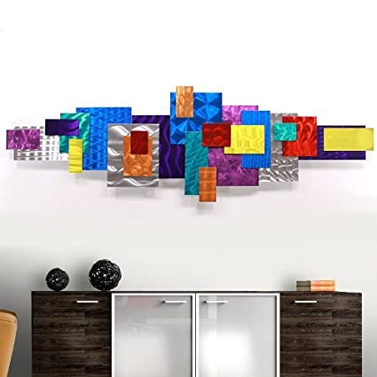 Abstract geometric multi color bright fun metal wall sculpture modern contemporary office school home