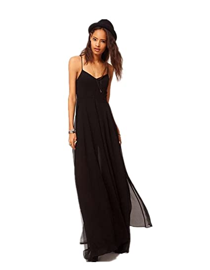 39168b93c807 Amazon.com: Lingswallow Women Sexy Black Spaghetti Strap Split Evening  Party Long Maxi Dress: Clothing