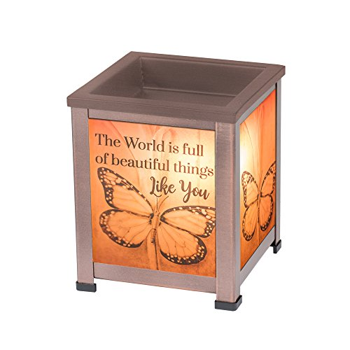 Elanze Designs World Beautiful Copper Tone Metal Electrical Wax Tart and Oil Glass Lantern Warmer
