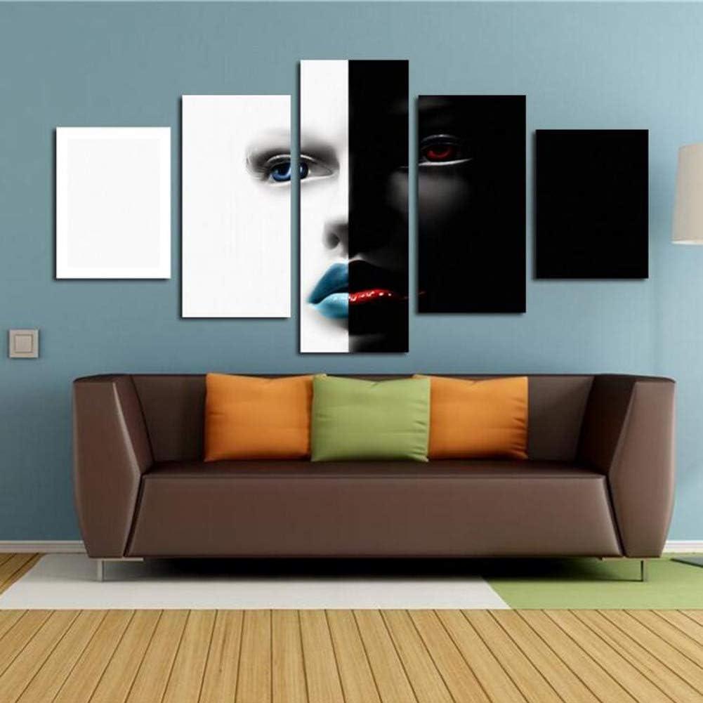 MINRAN DECOR A Impreso en Lienzo Arte Enmarcado Cuadro de la Pared de impresión - (Rostro de Mujer Blanco y Negro) Animal Moderna Sala de Estar Dormitorio Pieza Decoración Sin Marco 60''W x 32''H, 1