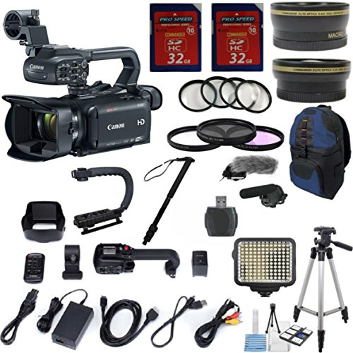 Canon XA30 Professional Camcorder with 10x HD Video Exclusive Celltime Bundle with .43x Wide Angle Lens + 2.2x Telephoto + LED Light + Tripod + 2pcs 32GB High Speed Memory Cards + 22pc Accessory Kit by Celltime Inc.