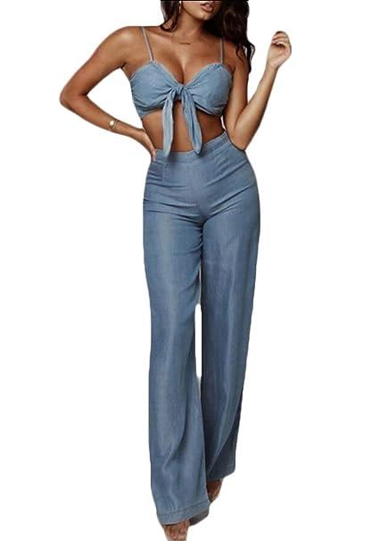 d17a31e6df Women Jumpsuit Casual Spaghetti Strap Crop Tops Bodycon Long Romper Denim  Blue XS
