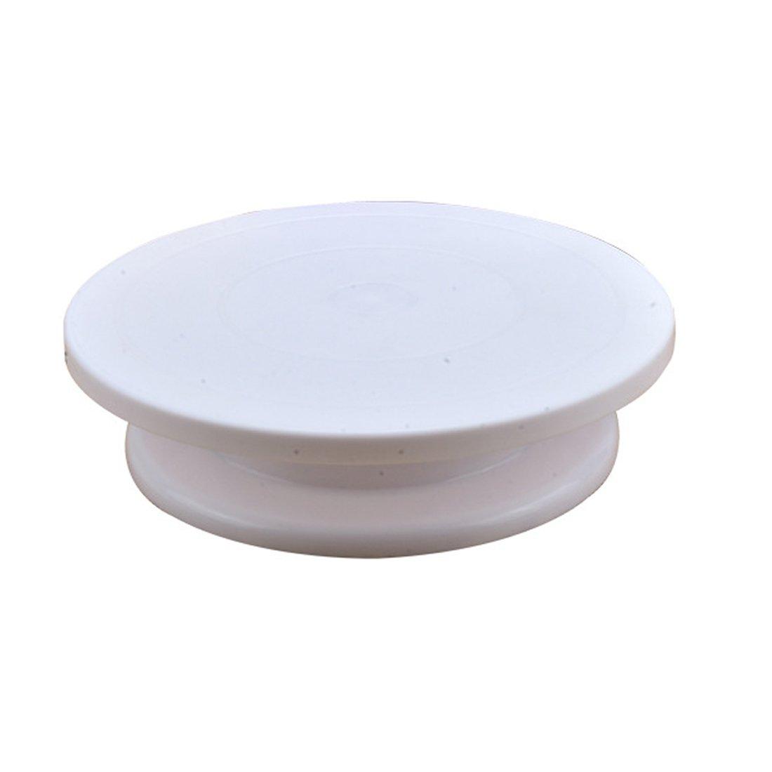 Bandeja redonda para pastel, de plástico, giratoria, embalada en caja, color blanco, de 28 x 28 x 7 cm: Amazon.es: Hogar