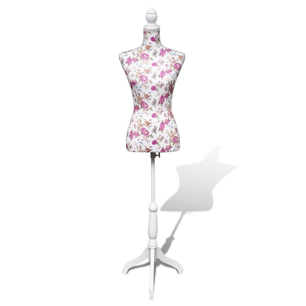 vidaXL Lady Mannequin Bust Window Torso Dress Form Display White/Rose w/Tripod Stand