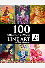 100 coloring pages. Line art. Part 2. Alena Lazareva: Coloring Book for Adults: Victorian, Mermaids, Fairies, Fashion, cats and dogs, Female portraits and More! Paperback