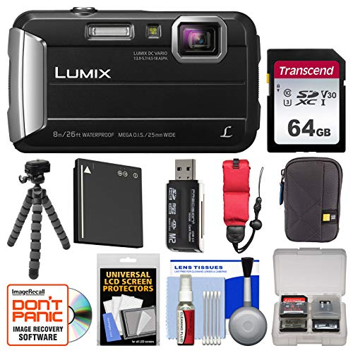 Panasonic Lumix DMC-TS30 Tough Shock & Waterproof Digital Camera (Black) with 64GB Card + Case + Battery + Flex Tripod + Float Strap + Kit (Panasonic Video Waterproof Camera)
