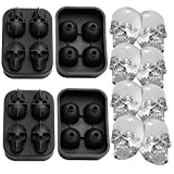 GG MALL 3D Skull Silicone Ice Cube Mold Tray, 2 Pack, BPA free, Makes 8 Vivid Skulls, Easy Release Ice Ball Cube Maker, Black