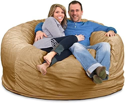 ULTIMATE SACK 6000 Bean Bag Chair Giant Foam-Filled Furniture – Machine Washable Covers, Double Stitched Seams, Durable Inner Liner, and 100 Virgin Foam. Comfy Bean Bag Chair. Camel, Suede