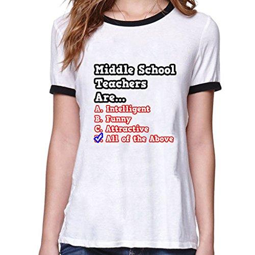 My-Zone Women's Middle School Teacher Quiz...Joke Tshirts Small White