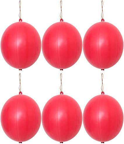 Toyvian Punch Balloons 10pcs Grande Palloncino al Neon Punching Balls con Manico in Gomma per Bambini e Adulti Verde