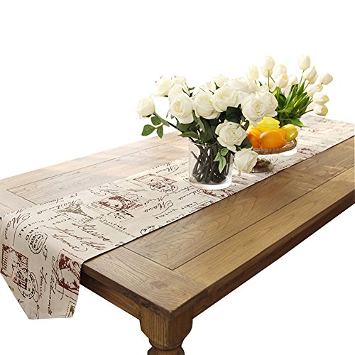 Ethomes Classic Linen & Cotton Printed Natural Table Runner approx 13 x 62 inches