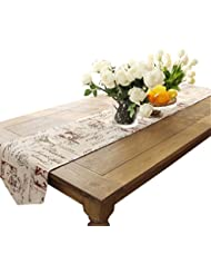 Ethomes Classic Linen & Cotton Printed Natural Table Runner approx 13 x 86 inches