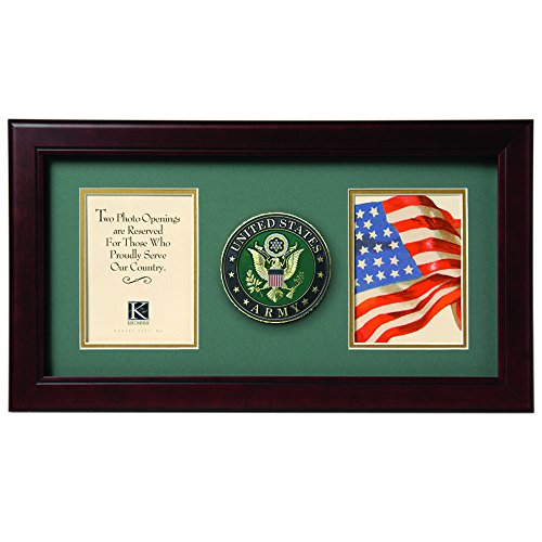 Allied Frame US Army Medallion Double Picture Frame - Two 4 x 6 Photo Openings