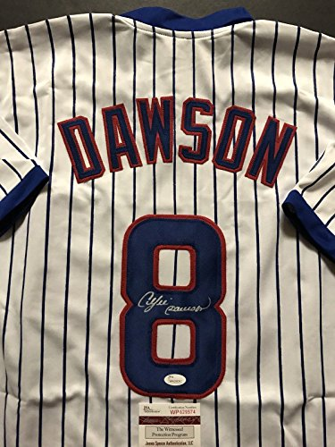 Andre Dawson Autographed Baseball (Autographed/Signed Andre Dawson Chicago Cubs Pinstripe Baseball Jersey JSA COA)