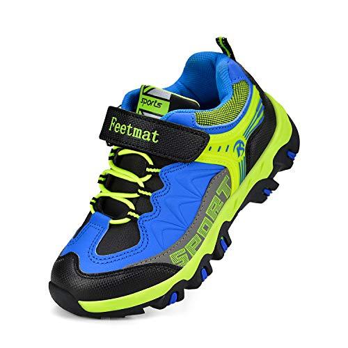 QANSI Toddler Boys Shoes Waterproof Kids Strap Tennis Shoes Athletic Trail Running Hiking Shoes Black/Blue 9.5 Black Smooth Pu Kids Shoes