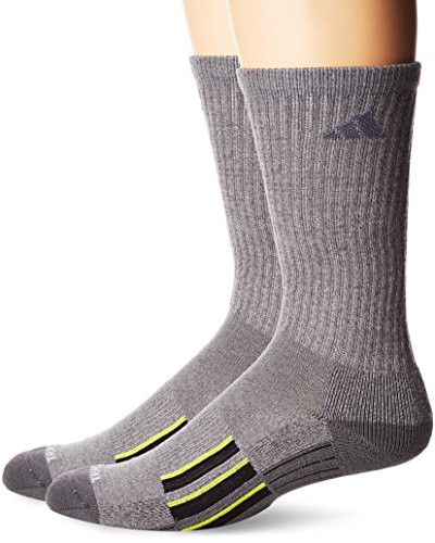 Adidas Crew Tennis Socks (adidas Men's Climalite X II Crew Socks (2-Pack), Onix Light Onix Marl/Onix/Black/Shock Slime, Large)
