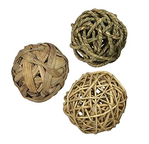(Pet Handmade Woven Grass Balls, Safe & Edible Chew Toy(3 Pack)-Brand BOBO)