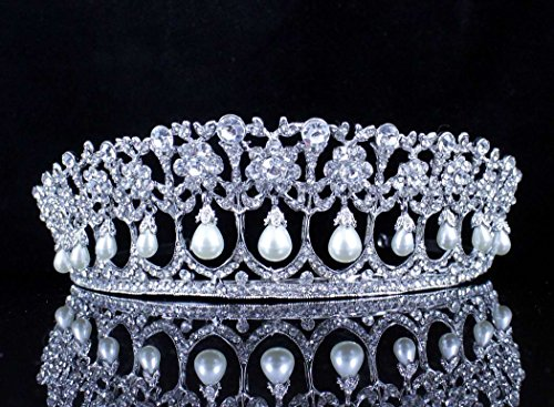 Janefashions Princess Pearl Austrian Crystal Rhinestone Hair Tiara Crown Wedding Prom T11895 ()