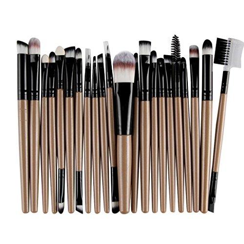 Make Up Kits Professional Natural Hair, Kingfansion 22Pcs/Set Lip Mascara Eyeliner Eyeshadow Brush Kit for Women under 10 Dollars (Coffee)