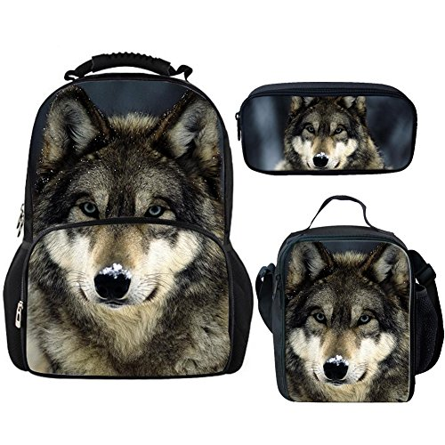 Bigcardesigns Animal Wolf Fashion Backpack School Bags Set with Lunch Bag Pencil Case 3 Pieces