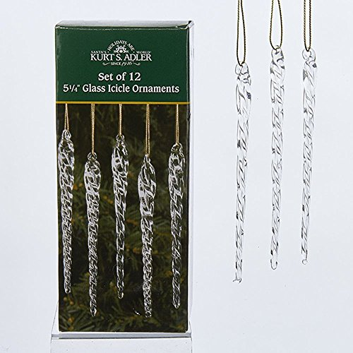 (Kurt Adler 5-1/4-Inch Glass Icicle Ornament 12-Piece Box Set, Clear, 1 Pack)