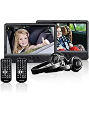 Lenco draagbare dvd-speler DVP-1045 dubbele dvd-speler set - 2 x 9 inch scherm - minimaal 4 uur accuduur - 2 hoofdtelefoons - 2 afstandsbedieningen - 2 bevestigingen - zwart