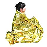 Enem Emergency Mylar Thermal Blankets Heavy Duty Large (160 X 210 cm (5.24 feet x 6.88 feet)) for Safety & Survival during Camping, Outdoor Sports, Hiking , Travel, Tent, Bag, Rain- Pack of 01