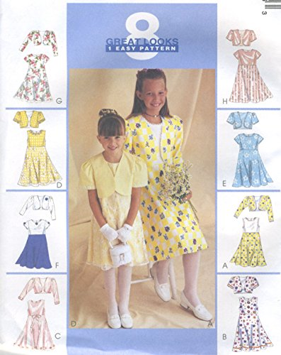Girls Lined Bolero Jacket Dress Sewing Pattern Sheer Overskirt McCall 9186 8 Looks Easy Size 7-8-10