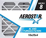 Aerostar 16x25x4 MERV 8, Pleated Air Filter, 16 x 25 x 4, Box of 4, Made in The USA