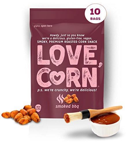 BBQ LOVE CORN - 1.6oz (10 BAGS) Crunchy Corn, Gluten-Free, Vegan, Non-GMO, Sugar-Free Snack - Love Corn