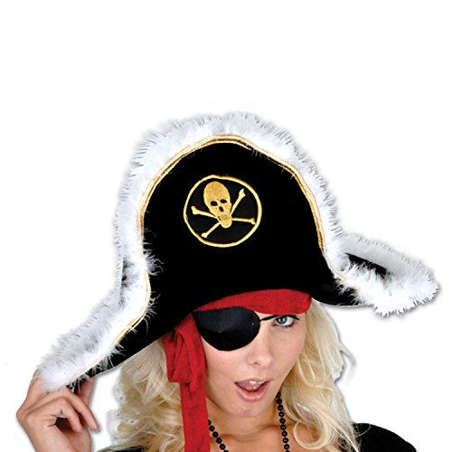 Pack of 6 Black White and Gold Plush Pirate Captain's Party Hat - Adult by Party Central