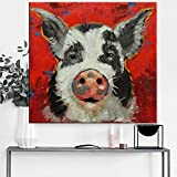 Canvas Art 100% Hand painted Abstract Lovely Pig Oil Painting Modern Living Room Wall Decor Picture no Framed