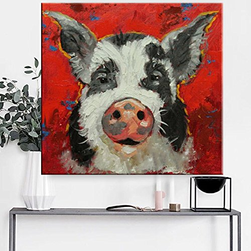 Canvas Art 100% Hand painted Abstract Lovely Pig Oil Painting Modern Living Room Wall Decor Picture no Framed by Fchen Art