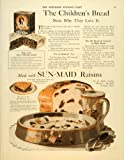 1919 Ad Children's Bread Sun-Maid Raisins Girl Bunnies - Original Print Ad