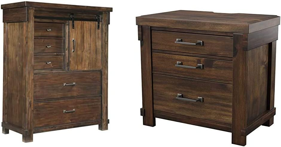Ashley Furniture Signature Design - Lakeleigh Chest of Drawers - Brown & Lakeleigh Night Stands, Brown Nightstand