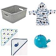 Baby Gift Set Storage Tote, Hooded Bath Towel, Whale Bath Robe, Oball Tub Toy