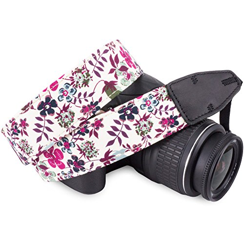 Wolven Pattern Cotton Camera Neck Shoulder Strap Belt Compatible for DSLR/SLR/Men/Women etc, Purple Flower