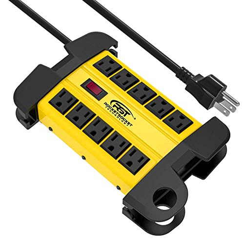 - CRST 10-Outlets Heavy Duty Power Strip Metal Surge Protector with 15 Amps, 15-Foot Power Cord 2800 Joules for Garden, Kitchen, Office, School, ETL Listed(3165047) (10-Outlet, Yellow)