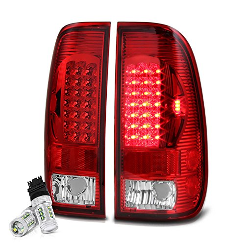 Cree Led Reverse Bulbs Vipmotoz Led Tail Light Lamp Assembly For 1997 2003 Ford F 150 1999 2007 Ford Superduty F 250 F 350 Pickup Truck Rosso Red Lens Driver And Passenger Side