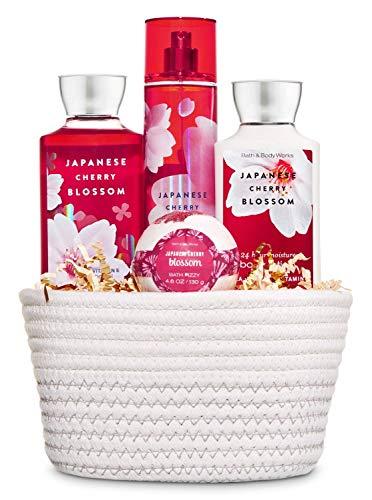 Bath & Body Works Japanese Cherry Blossom White Basket Gift Set - Shower Gel, Body Lotion, Fine Fragrance Mist & Bath Fizzy