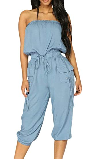 cb09c847f81e Amazon.com  SELX-Women Off Shoulder Strapless Drawstring Denim Capri  Jumpsuit Romper  Clothing