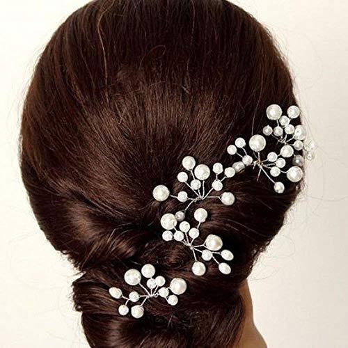 5 Pcs Bridal Hair Pins Wedding Pearl Cluster Slide Clips Grips Flower Bridal Bridesmaid Clips Hair Accessories Headpiece
