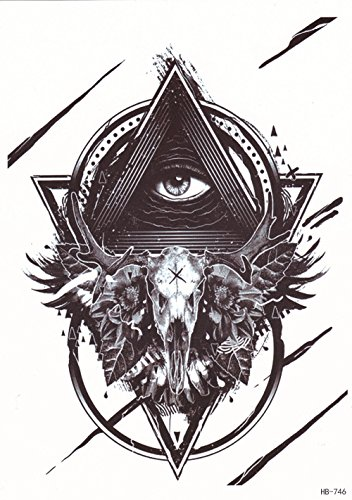 DaLin Large Temporary Tattoos, 4 Sheets (Sheep Skull God's Eye) -