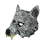 Halloween Wolf Head Mask Animal Adult Costume Scary Werewolf Half Mask for Halloween and Cosplay Costume Party Creepy Decorations Horror Nights