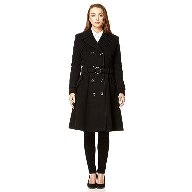 19d34fe0f32a De La Creme Women`s Wool & Cashmere Winter Long Belted Coat Black Size 6