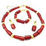 Yulaili Natural Red Coral Beads Earrings Jewelry Sets Chips African Costume Necklace Fashion Bracelet Women Accessory Gemstone