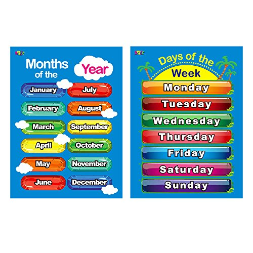 Days of the Week, Months of the Year, 2 Laminated Educational Posters for Toddlers,