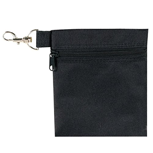 (BuyAgain Golf Tee Pouch, 5.62 X 6.87 Inch Professional Zipper Golf Tee/Ball Pouch Bag with Metal Lobster Claw Clip.)